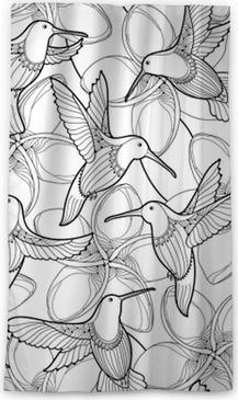 Modèle Sans Couture De Vecteur Avec Fleur De Plumeria Et Colibri Volant Ou Colibri Dans Le Style De Contour Sur Le Fond Blanc Contour Frangipani
