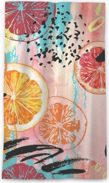 Rideau transparent Aquarelle orange, citron, modèle sans couture de pamplemousse.