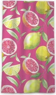 Rideau transparent Joli motif fait à la main de feuilles de thé et d'agrumes: citron, pamplemousse, orange, citron vert. aquarelle.