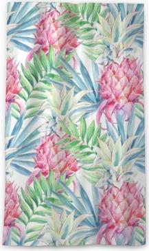 Rideau transparent Modèle sans couture de fruits ananas aquarelle