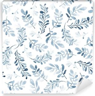 Samolepicí fototapeta Akvarel bezešvé vzor modré větve izolovaných na bílém  pozadí. zimní nálada. květinové 7996e124a6