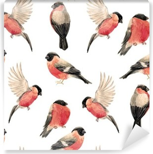 Samolepicí Fototapeta Akvarel hýl pták vzorek