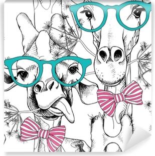 Samolepicí fototapeta Bezešvé vzor s žirafy v brýlích a luk. vektorové  ilustrace. 9b9df82fb7