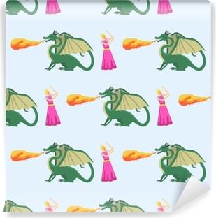 Samolepicí fototapeta Fantasy rytíř drak létání bezešvé vzorek mytologie  monstrum pozadí vektorové ilustrace. 1753fb3675