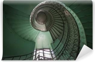 Samolepicí fototapeta Spirála starý zelený a grunge schodiště