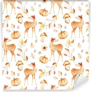 Samolepicí fototapeta Tento podzimní bezešvý vzorek zahrnoval jeleny 12e42b74b0