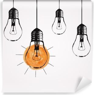 Samolepicí Fototapeta Vektorové grunge ilustrace s visící žárovky a místo pro text. Moderní styl skica bederní. Jedinečný nápad a kreativní myšlení koncept.