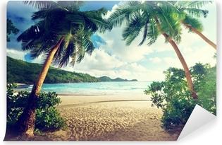 Samolepicí Fototapeta Západ slunce na pláži, Mahe Island, Seychely