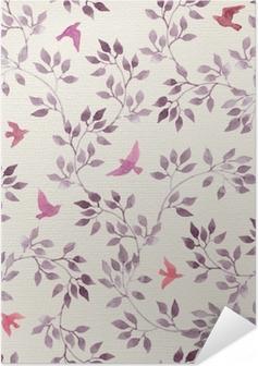 Samolepicí plakát Bezproblémové retro tapety s roztomilými ptáky a ditsy ručně malované listy. vintage akvarel