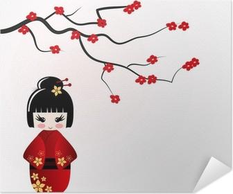 Samolepicí plakát Kokeshi panenka pod větve sakury