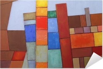 Samolepicí plakát Malovaný Abstraktní koláž