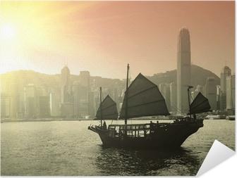 Samolepicí plakát Plachtění Victoria Harbour v Hong Kong