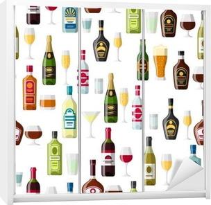 Alkohol Trinkt Nahtlose Muster Flaschen Gläser Für Restaurants Und Bars