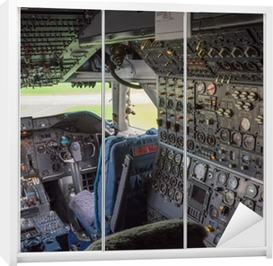 Schrankaufkleber Cockpit eines Jumbo-Jets