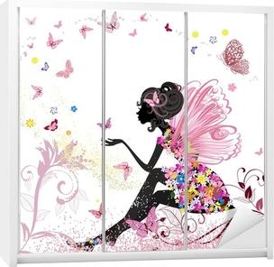 Schrankaufkleber Flower Fairy in der Umgebung von Schmetterlingen