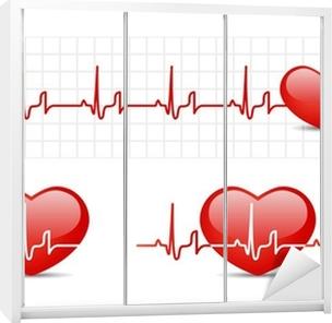 Schrankaufkleber Herz-EKG mit Herz