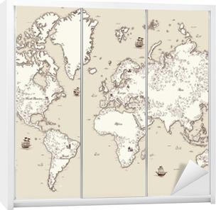 Schrankaufkleber Hohe detaillierte, Weltkarte mit dekorativen Elementen
