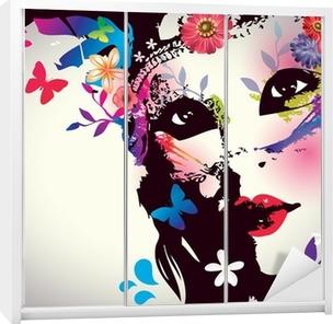 Schrankaufkleber Mädchen mit Maske / Vektor-Illustration