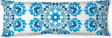 Seitenschläferkissen Nahtlose blauen Blumen polnischen Volkskunstmuster - Wycinanki