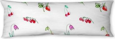 Seitenschläferkissen Nahtlose Muster mit Garten Obst und berries.Cherry, Himbeere, Johannisbeere, Erdbeere, Apfel und Blume. Aquarell von Hand illustration.White Hintergrund gezeichnet.