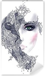 Selbstklebende Fototapete Abstrakte Frau Gesicht