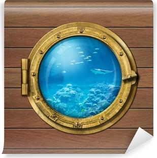 Selbstklebende Fototapete Bathyscaphe oder U-Boot-Bullauge unter Wasser