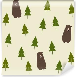 Selbstklebende Fototapete Bear and forest seamless background.