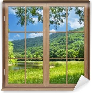 Selbstklebende Fototapete Brown Fenster geschlossen - Fluss