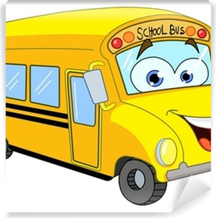 Selbstklebende Fototapete Cartoon Schulbus