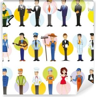 Selbstklebende Fototapete Cartoon Zeichen von verschiedenen Berufen