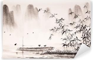 Selbstklebende Fototapete Chinesische Landschaft Tuschemalerei
