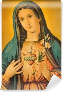 Selbstklebende Fototapete Das Herz der Jungfrau Maria mit der Lilie