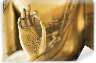 Selbstklebende Fototapete Die Hand der goldene Buddha-02