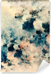 Selbstklebende Fototapete Digitale abstrakte Malerei der dunklen Beschaffenheiten, die Fantasiewolken auf einem hellen Hintergrund ähneln
