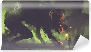 Selbstklebende Fototapete Dunkles Fantasiekonzept, das den Jungen mit einer Fackel zeigt, die Rauchmonstern mit Hörnern des Dämons, digitale Kunstart, Illustrationsmalerei gegenüberstellt