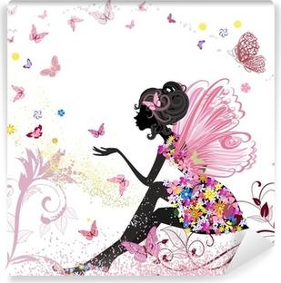 Selbstklebende Fototapete Flower Fairy in der Umgebung von Schmetterlingen