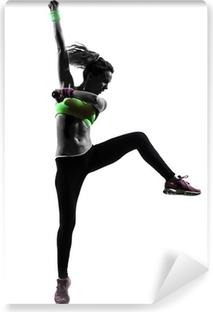 Selbstklebende Fototapete Frau ausüben Fitness Zumba tanzen Silhouette