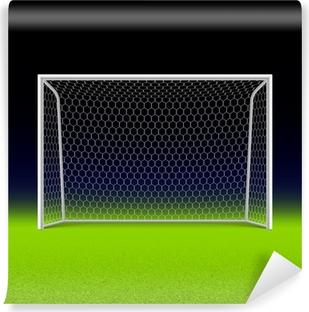 Selbstklebende Fototapete Fußballtor auf schwarz
