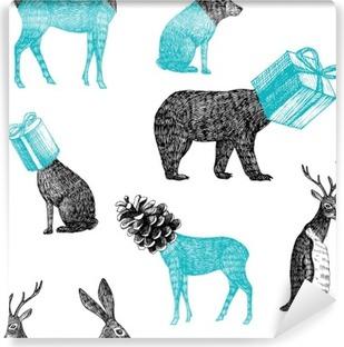 Selbstklebende Fototapete Hand gezeichnet Winter Tiere nahtlose Hintergrund