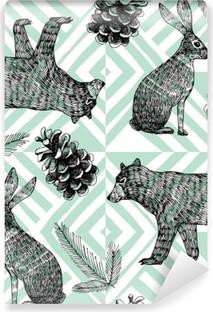 Selbstklebende Fototapete Hand gezeichnet Winter trendy Muster, geometrische Hintergrund