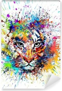 Selbstklebende Fototapete Hellen Hintergrund mit Tiger