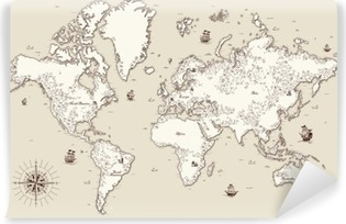 Selbstklebende Fototapete Hohe detaillierte, Weltkarte mit dekorativen Elementen