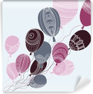 Selbstklebende Fototapete Illustration mit bunten Luftballons fliegen