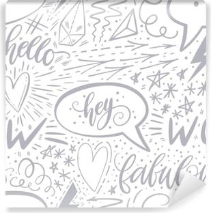 vinyl fototapete kalligraphie hand schriftzug nahtlose muster positive zeichen stern herz - Handyhullen Muster