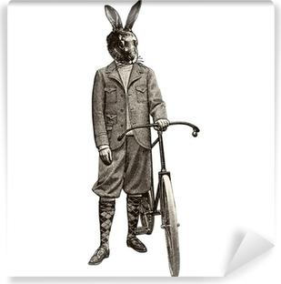 Selbstklebende Fototapete Kaninchen Fahrrad