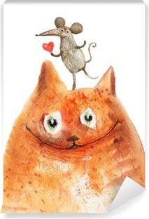 Selbstklebende Fototapete Katze mit Mause