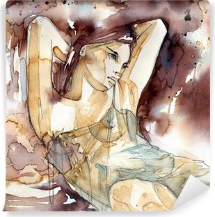 Selbstklebende Fototapete Kobieta z rękoma pod GLOWA