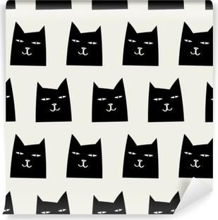 Selbstklebende Fototapete Nahtlose Katze Muster