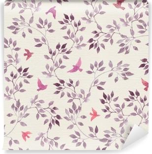 Selbstklebende Fototapete Nahtlose retro Tapete mit niedlichen Vögeln und ditsy handgemalten Blättern. Vintage Aquarell