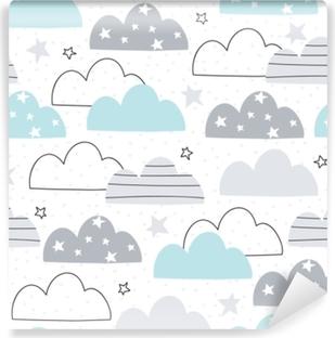 Selbstklebende Fototapete Nahtlose Wolkenmuster-Vektorillustration